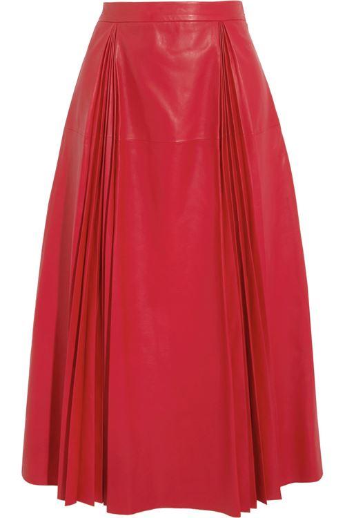 плиссированная кожаная юбка 2016