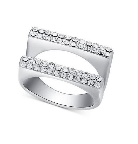 двойное кольцо из серебра с кристаллами