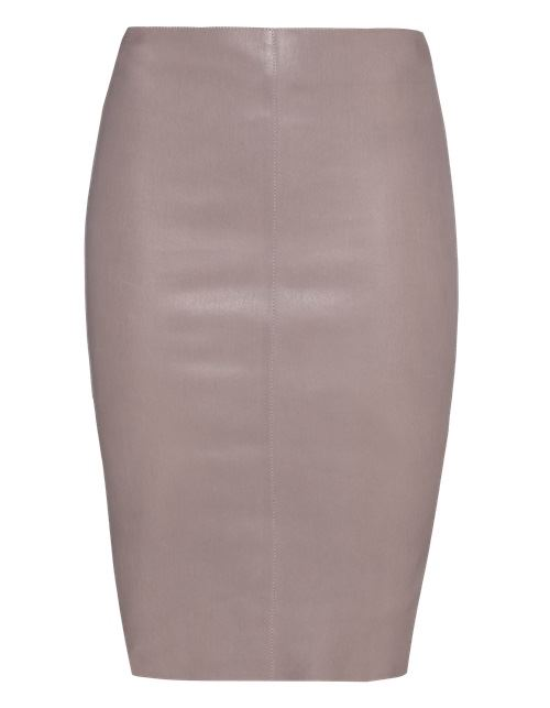 нейтральная кожаная юбка-карандаш 2016