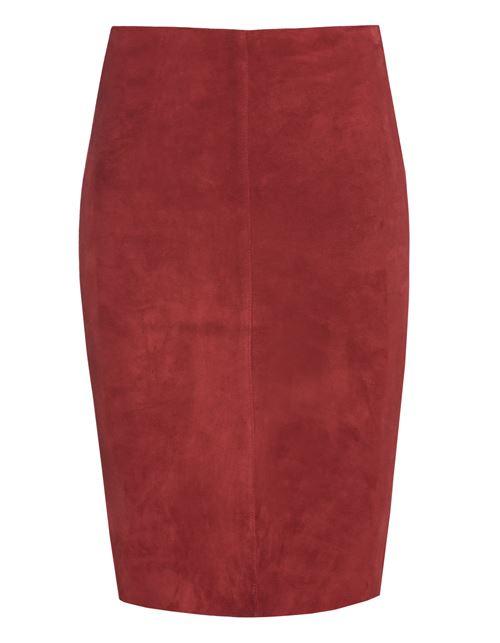 красная замшевая юбка карандаш 2016