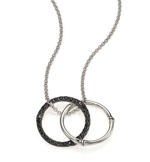 кулон с двумя кольцами с черными сапфирами John Hardy