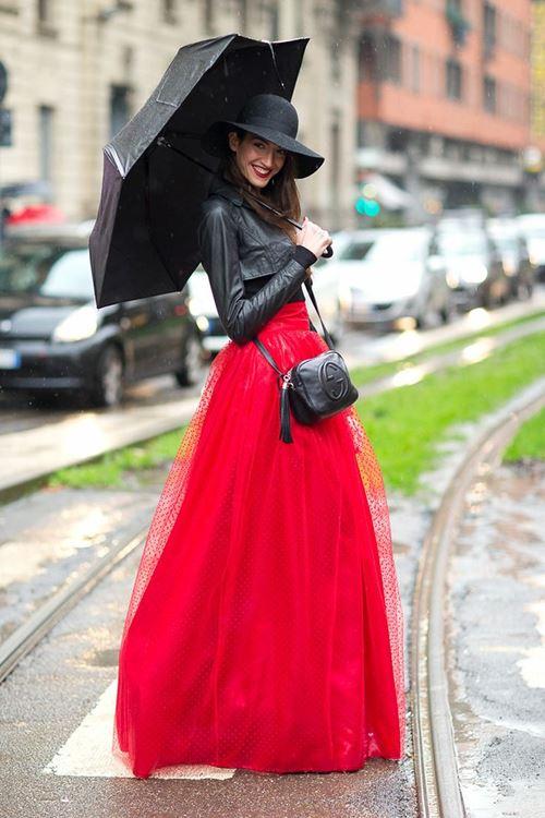 Длинная юбка в клетку и куртка