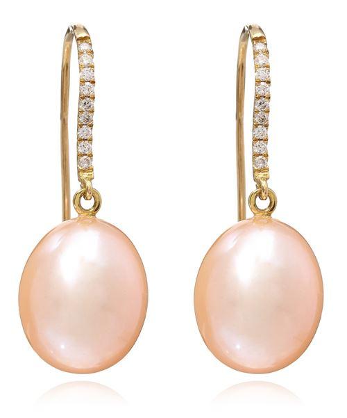 серьги-подвески с розовым жемчугом и бриллиантами
