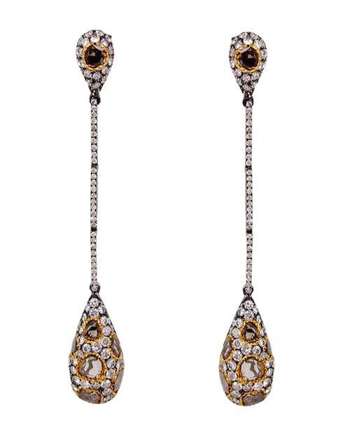 серьги-подвески в виде капелек с драгоценными камнями