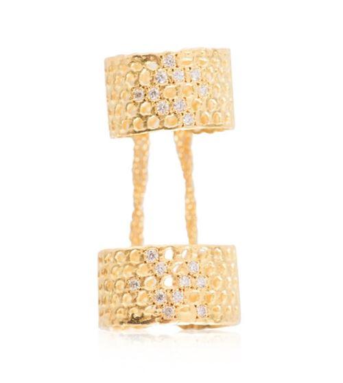 двойное кольцо на фаланги с камнями
