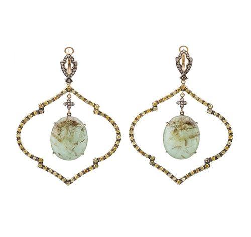 серьги-люстры в викторианском стиле с зелеными камнями