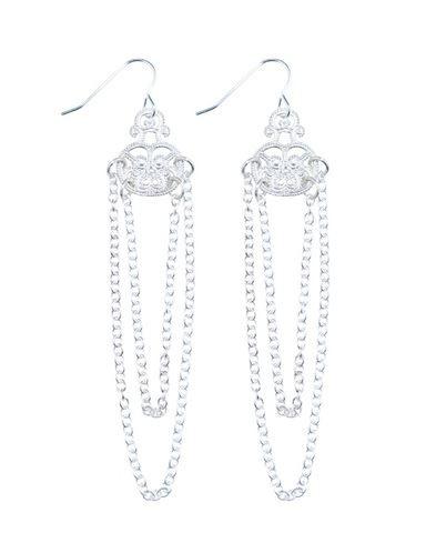 серьги-подвески тонкие цепочки с бриллиантами