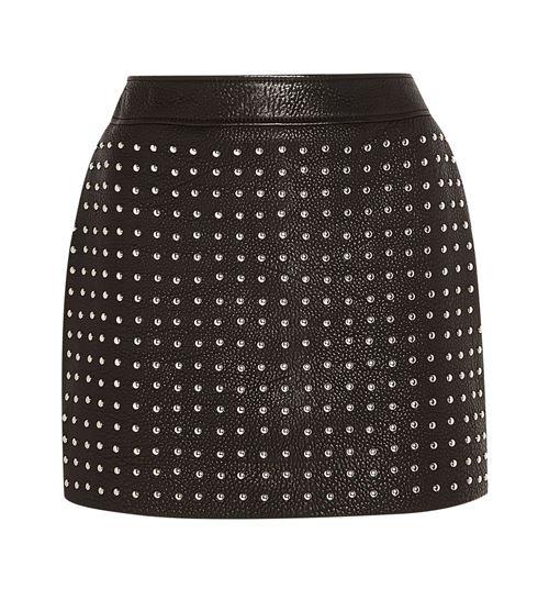 черная мини юбка из кожи 2016