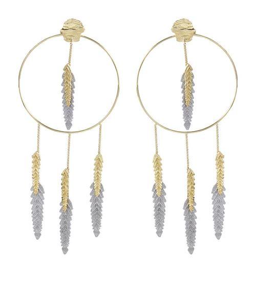 серьги-подвески крупные кольца с перьями