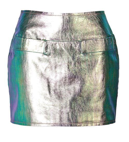 юбка из блестящей кожи 2016