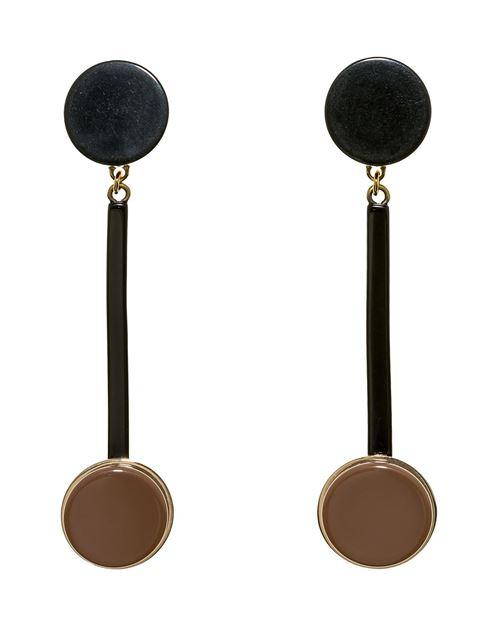 серьги-подвески в стиле ар деко, черные и коричневые диски