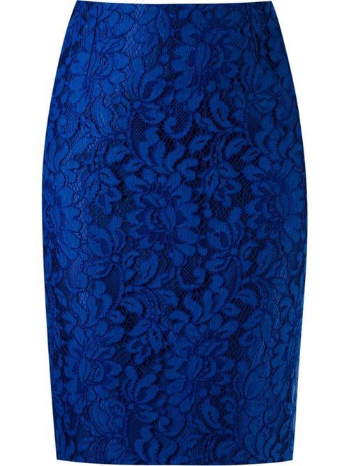 кружевная синяя юбка-карандаш 2016