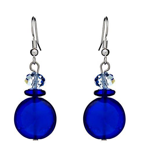 серьги-подвески с крупными синими кристаллами