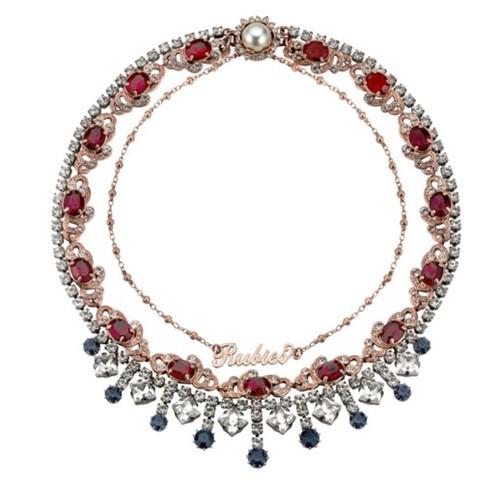 ожерелье с рубинами, бриллиантами и сапфираим