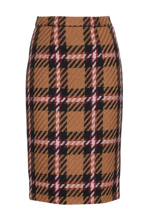 клетчатая шерстяная юбка-карандаш 2016