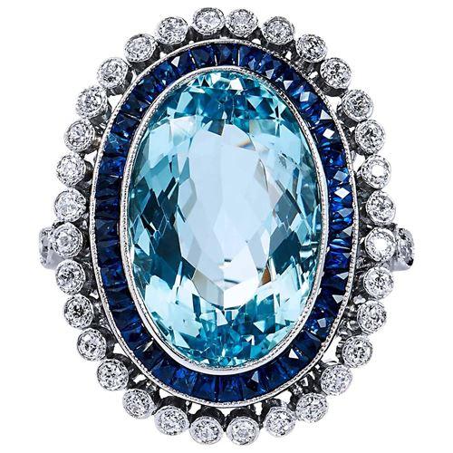 винтажное кольцо с сапфирами