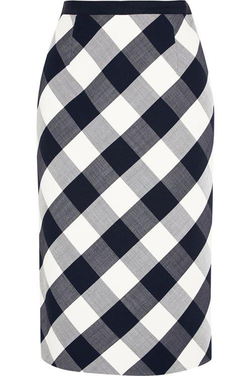 черно-белая клетчатая юбка-карандаш 2016
