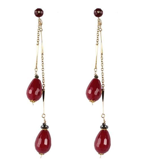 серьги-подвески на цепочках с красными кристаллами