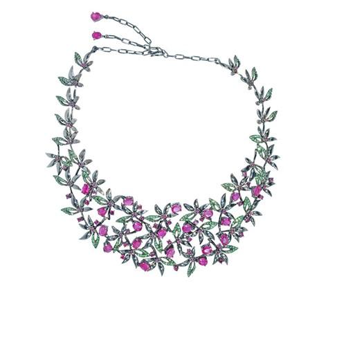 недорогое ожерелье с красными и розовыми кристаллами