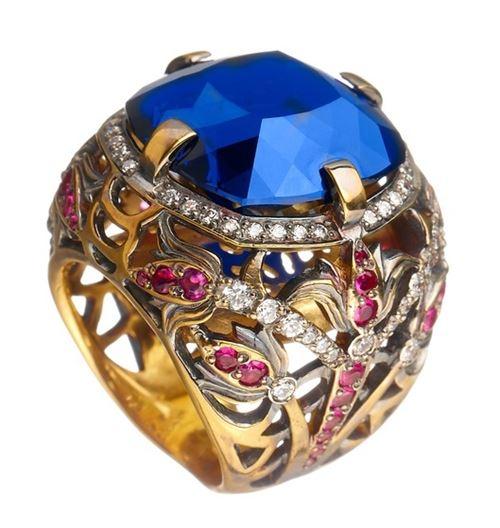 кольцо с сапфиром Queensbee