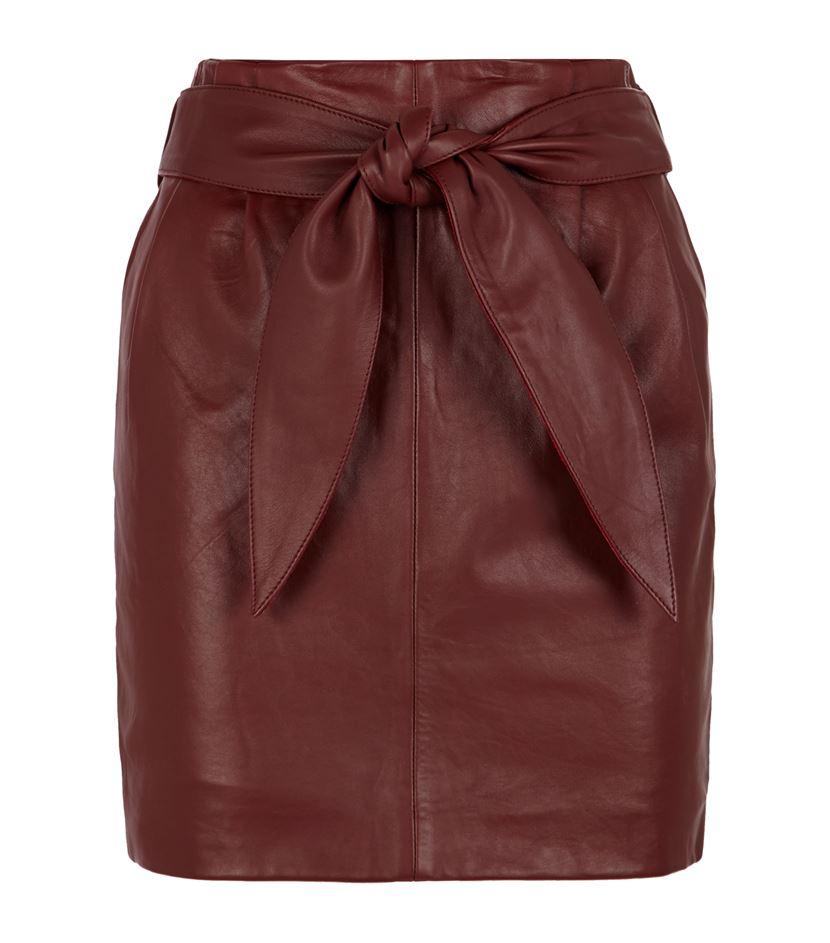 юбка из бордовой кожи 2016