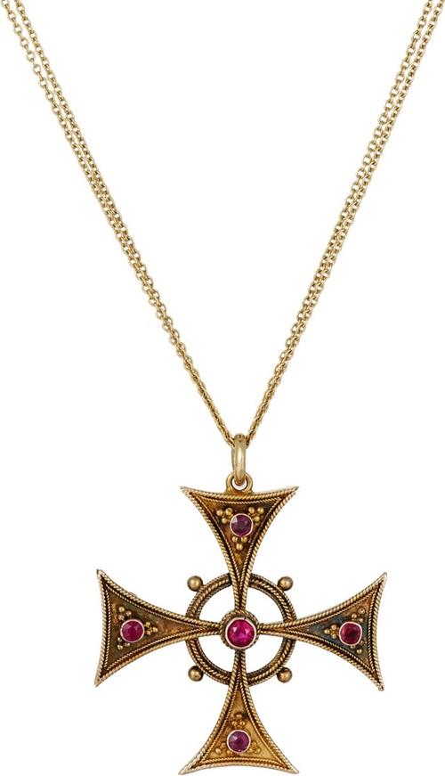 подвеска кельтский крест с рубинами