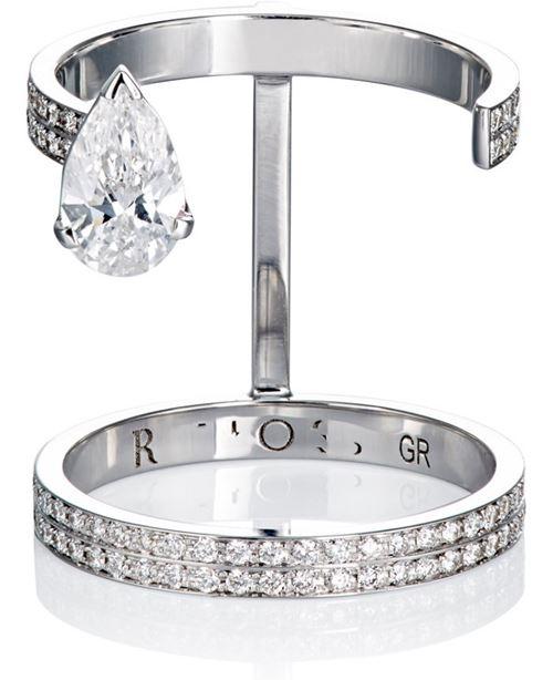 двойное кольцо на фаланги из белого золота с бриллиантами