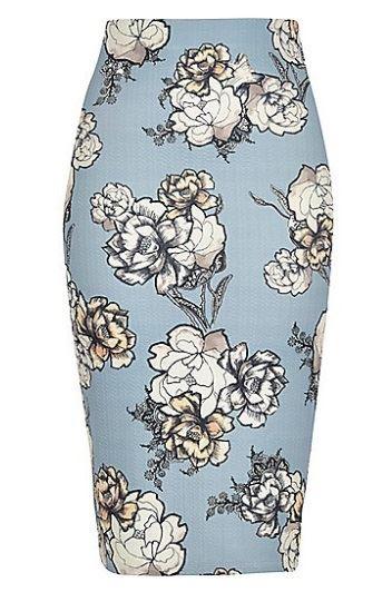 голубая юбка-карандаш 2016