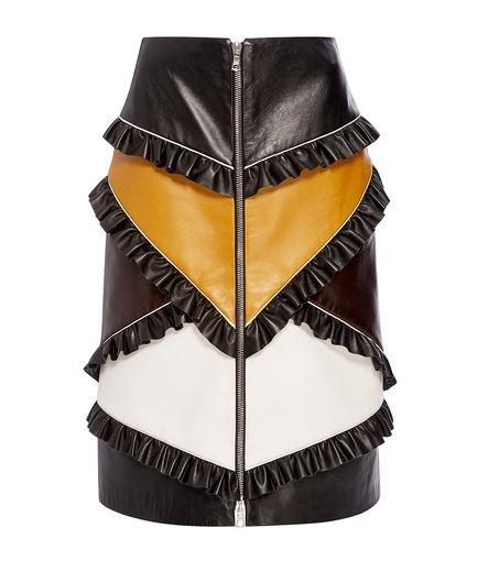 кожаная юбка с рюшами 2016