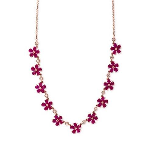 колье-цветы с рубинами на золотой цепочке