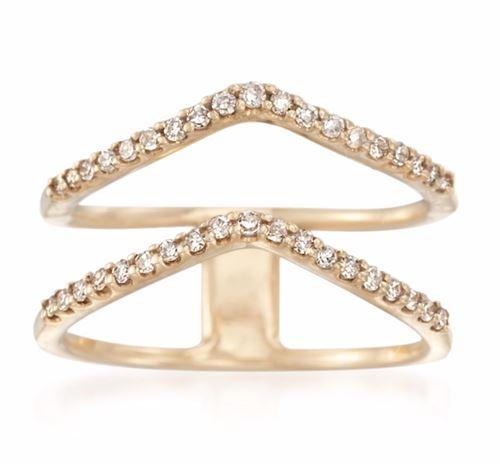 двойное треугольное кольцо из желтого золота с бриллиантами