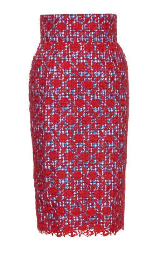 красная кружевная юбка-карандаш 2016
