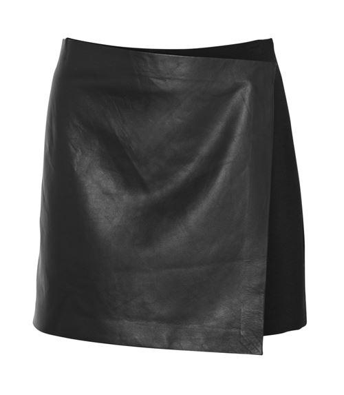 кожаная юбка с запахом 2016