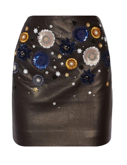 кожаная юбка с аппликациями 2016