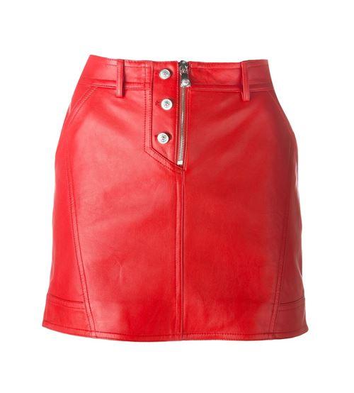 красная мини-юбка из кожи 2016
