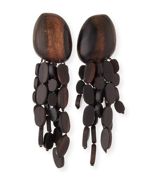 деревянные серьги люстры с подвесками