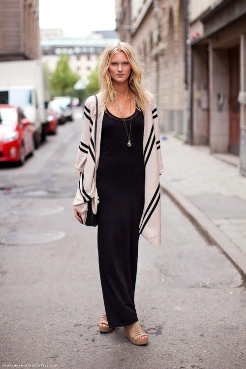 черное платье макси, длинный кардиган