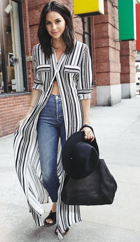 платье рубашка в полоску, джинсы