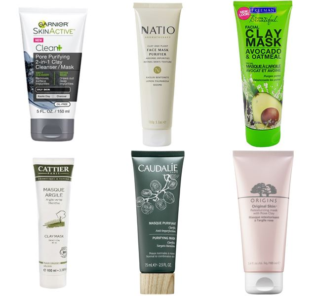 Очищающие маски для лица с глиной и грязью: зеленая и розовая глина, овес, авокадо