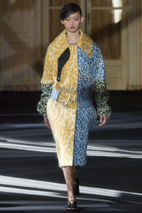 Acne Studios леопардовое пальто желто-синее
