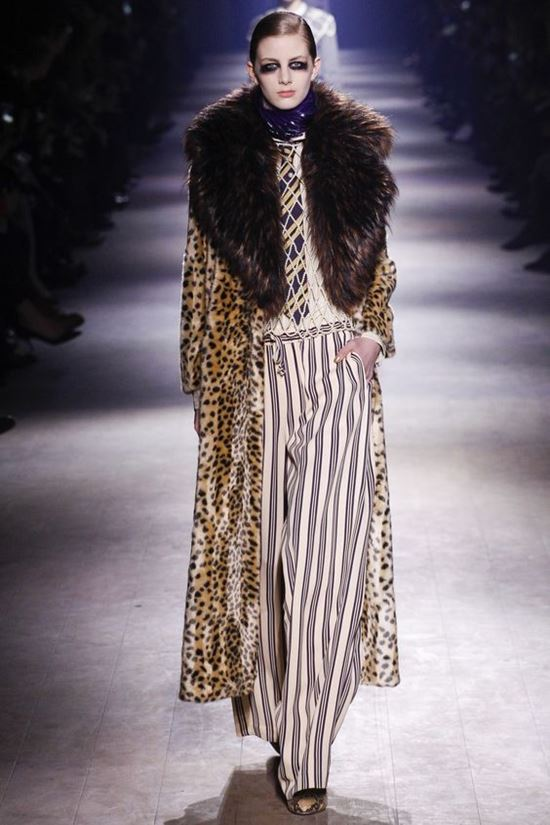 леопардовое пальто с меховым воротником Dries Van Noten