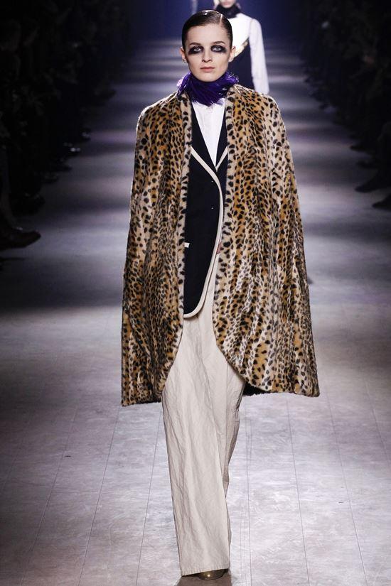 леопардовое пальто кейп Dries Van Noten