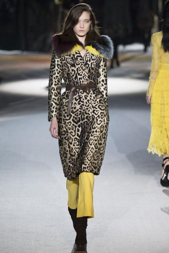 леопардовое пальто с меховым воротником Ermanno Scervino