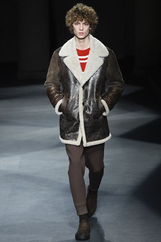 Neil Barrett мужская дубленка пальто осень-зима 2016-2017