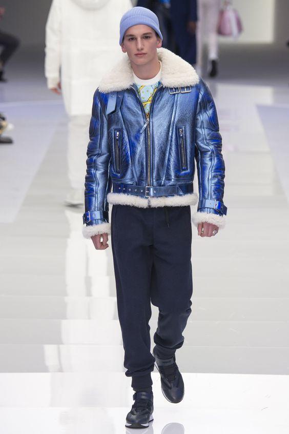 Versace синяя мужская куртка дубленка осень-зима 2016-2017