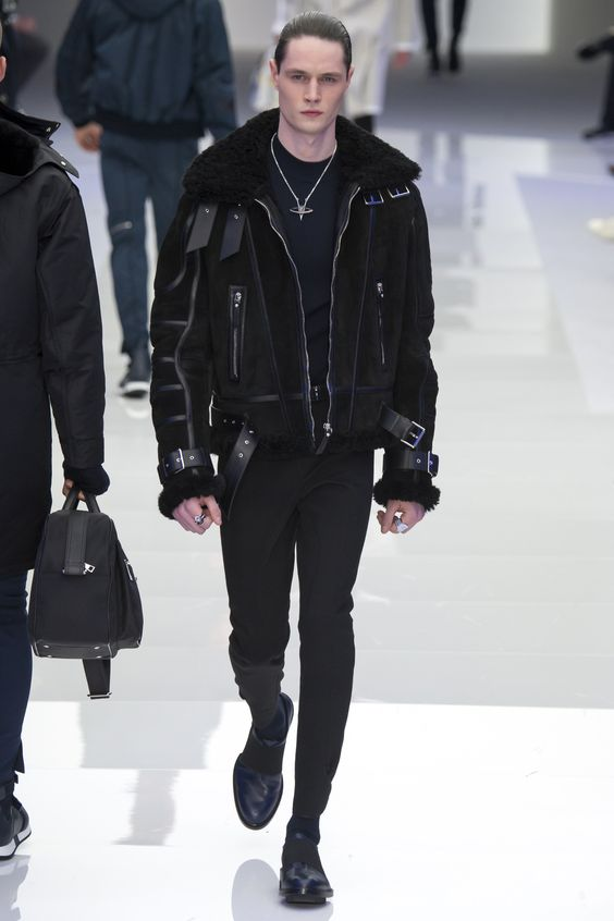 Versace  черная мужская дубленка осень-зима 2016-2017