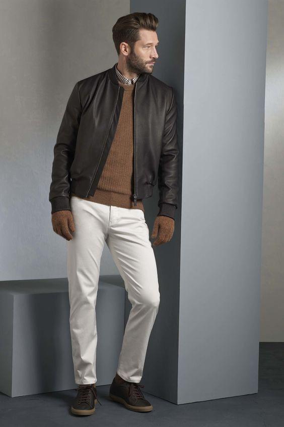 Gieves & Hawkes коричневая кожаная куртка-бомбер