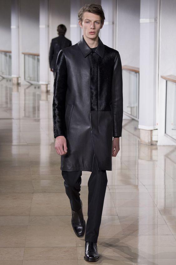 Hermès кожаный черный плащ
