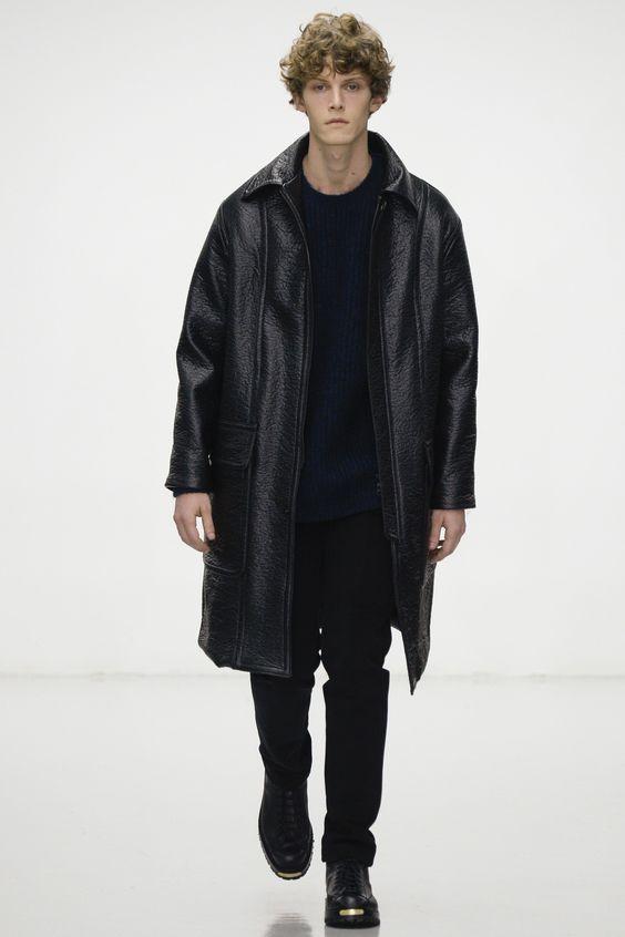 Lou Dalton черное пальто из кожи