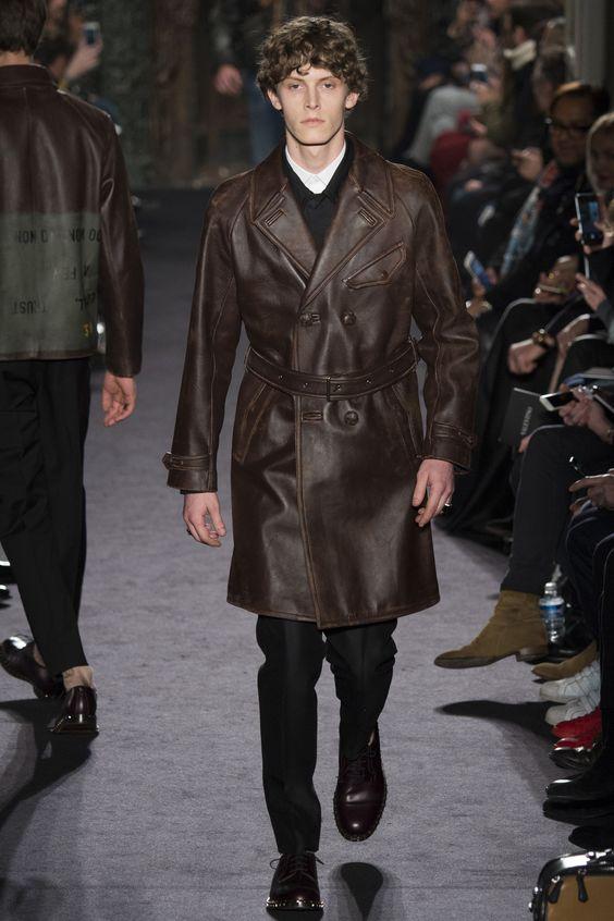 Valentino темно-коричневый кожаный тренч с ремнем